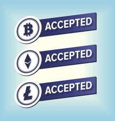 Bitcoin ethereum litecoin accepted here sticker vector