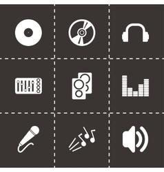 Black dj icon set vector