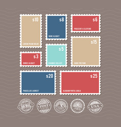 blank postage stamps in different sizes and vector image