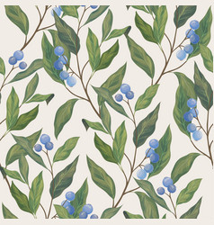 blue berry seamless pattern vector image