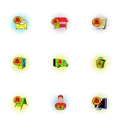 Business advertising icons set pop-art style vector image