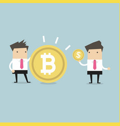 Businessmen comparing between bitcoin and dollar vector