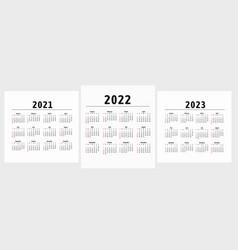 Calendar 20212022 2023 years week starts vector