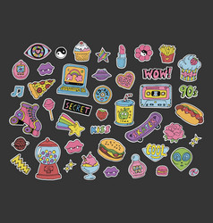 cartoon 90s style patchesstickers or icons set vector image