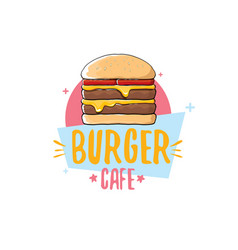 Cartoon burger cafe logo design template vector