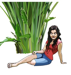 cartoon girl sits under a green tropical plant vector image