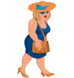 Cartoon overweight young woman in blue dress and vector image