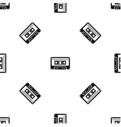 cassette tape pattern seamless black vector image