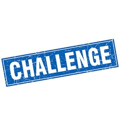 Challenge blue square grunge stamp on white vector