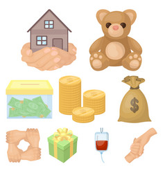 charitable foundation icons on helping people and vector image