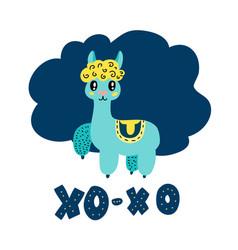 charming blue lama saying xo-xo vector image