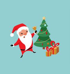 christmas santa claus jumping near tree vector image
