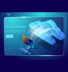 cloud storage web page template abstract design vector image
