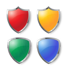 collection colorful shields with silver frames vector image
