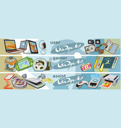 Colored sketch technology equipment banners vector