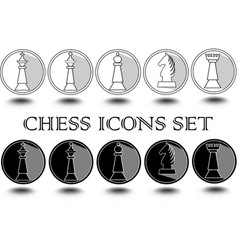 complete set of black and white chess pieces in vector image
