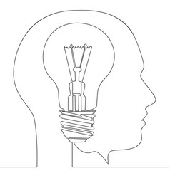continuous one line light bulb idea in head vector image