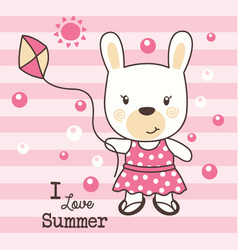 cute rabbit love summer vector image