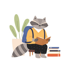 cute raccoon in clothes reading book funny animal vector image