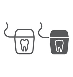 Dental floss line and glyph icon stomatology vector