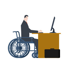 disabled at work manager on wheelchair at table vector image
