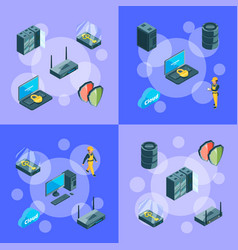 electronic system data center icons vector image