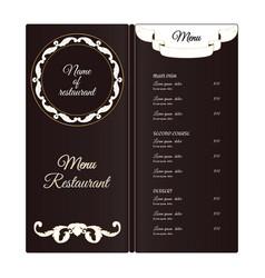 elegant vertical restaurant menu template it is vector image