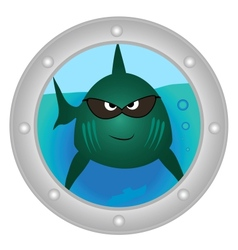 Evil fish looks in to porthole vector image