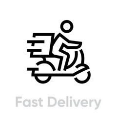Fast delivery bike icon editable line vector