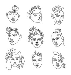female face line with flowers continuous lines vector image