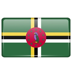 Flags Dominica in the form of a magnet on vector