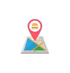 Food map pointer flat icon mobile gps vector