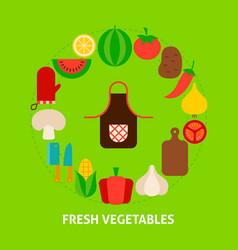 fresh vegetables postcard vector image
