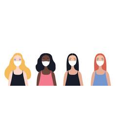 group four beautiful stylish cartoon woman vector image