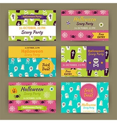 Halloween Party Invitation Template Flat Set vector