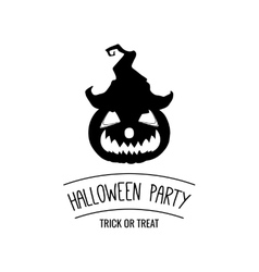Halloween Party Silhouette Smile Pumpkin Hat vector image