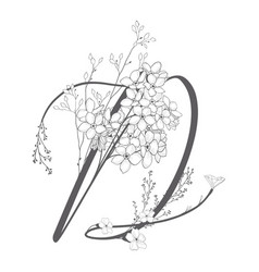 Hand drawn floral d monogram and logo vector
