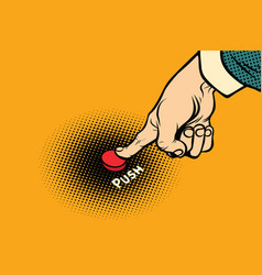 hand presses red button vector image
