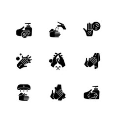 Hand washing steps black glyph icons set on white vector