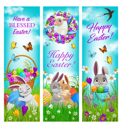Happy easter holiday celebration banners vector