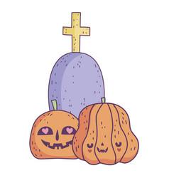 happy halloween celebration pumpkins gravestone vector image