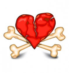 Heart amp bones on white vector