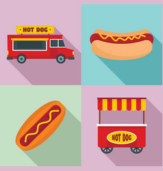 hot dog icon set flat style vector image