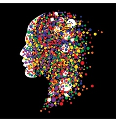 Human head on black background Abstract vector image