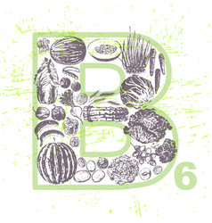 Ink hand drawn fruits and veggies vitamin b6 vector