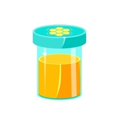 Jar of honey with closed lid natural honey vector