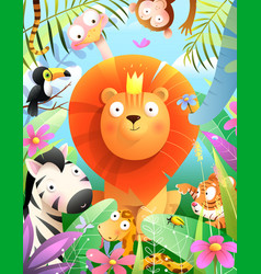 Jungle animals and lion kids african zoo cartoon vector