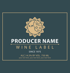 Label for wine with the sun and the moon vector