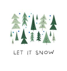 Let snow christmas tree winter season postcard vector
