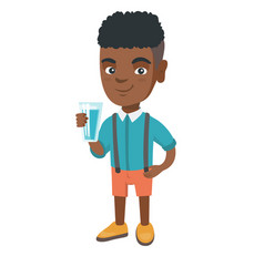 Little african boy holding a glass of water vector